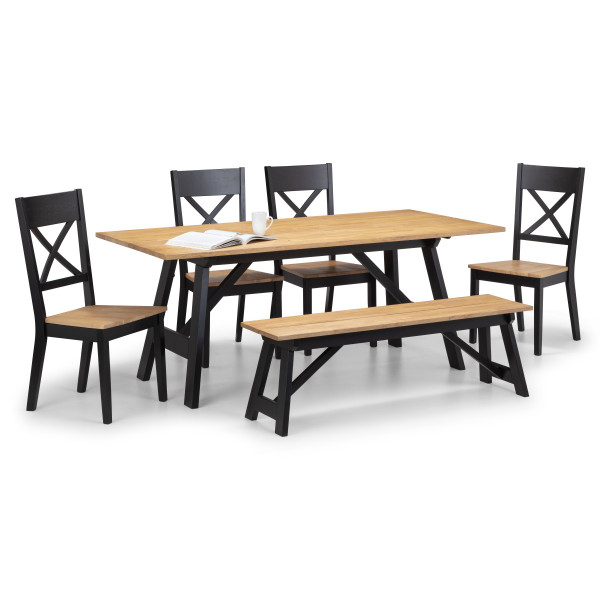 Dining Set Hockley Black and Oak Dining Table, 4 Dining Chairs and Bench HOC103 by Julian Bowen