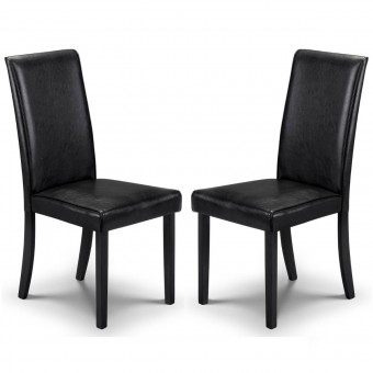 Dining Chair - Pair of Julian Bowen Hudson Black Dining Chairs HUD002