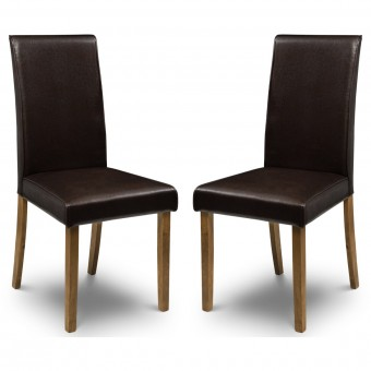 Dining Chair - Pair of Julian Bowen Hudson Brown Dining Chairs HUD004