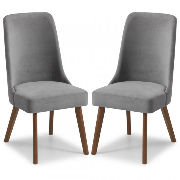 Pair of Grey Fabric Dining Chairs Huxley HUX302 by Julian Bowen