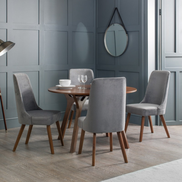 Dining Set - Huxley Round Dining Table and 4 Chairs in Walnut HUX301