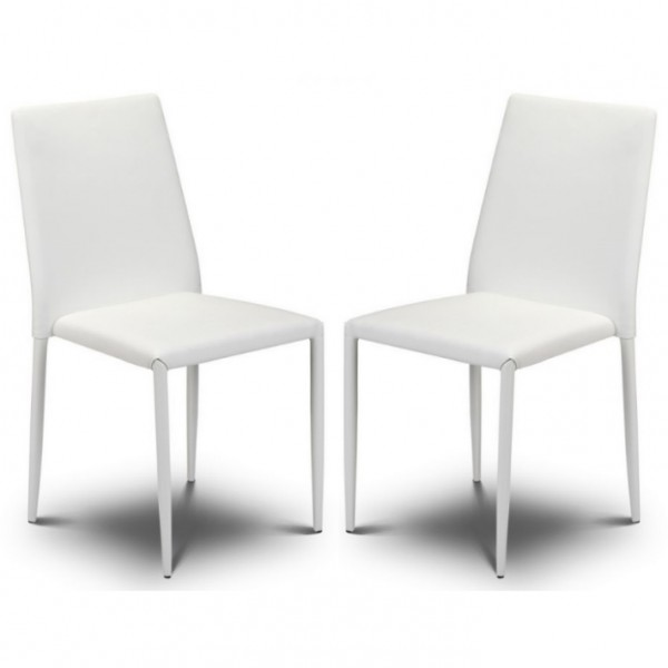 Pair of White Dining Chairs Faux Leather Jazz JAZ012 by Julian Bowen