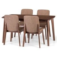 Dining Set - Kensington Extending Dining Table, 4 Dining Chairs in Walnut KEN204