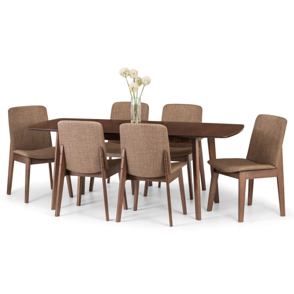 Dining Set - Kensington Extending Dining Table, 6 Dining Chairs in Walnut KEN205