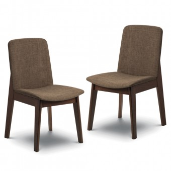 Pair of Chic Linen Dining Chairs Kensington KEN203 by Julian Bowen