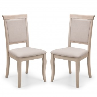 Dining Chair Pair of Lyon Pale Oak Dining Chairs LYO203 by Julian Bowen