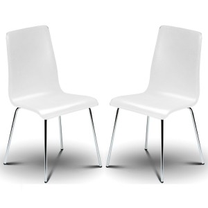 Dining Chair Pair of Mandy White Bistro Chairs MAN041 by Julian Bowen..