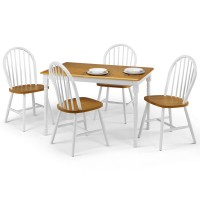 Dining Set - Oslo Dining Table and 4 Dining Chairs in White and Oak OSL104