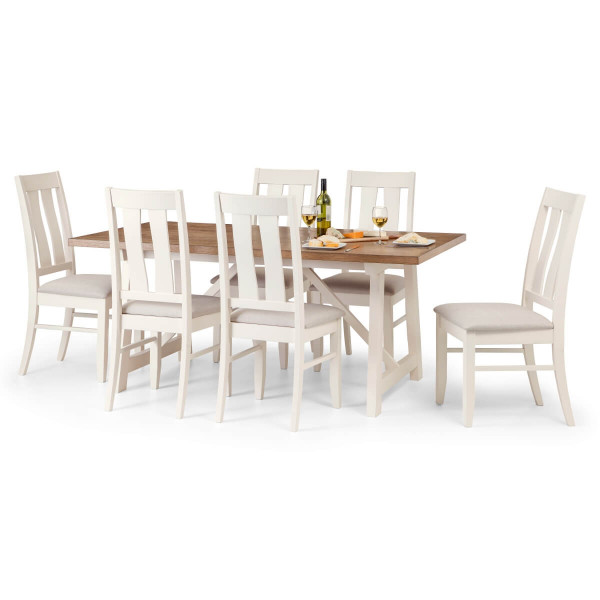 Dining Set Pembroke Dining Table and 6 Dining Chairs in Ivory and Oak PEM801