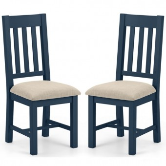 Dining Chair - Pair of Julian Bowen Richmond Dining Chairs RIC703 in Blue and Oak