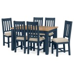 Dining Set - Richmond Dining Table and 6 Dining Chairs RIC702 in Blue and Oak