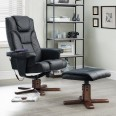 Reclining Chair Malmo Black Faux Leather Massage Chair and Stool MAL006 by Julian Bowen