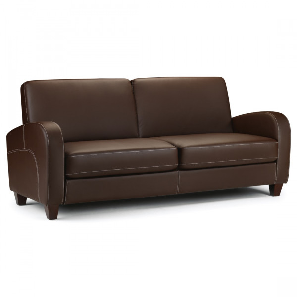 3 Seater Sofa - Vivo Brown Faux Leather 3 Seat Sofa VIV003 by Julian Bowen
