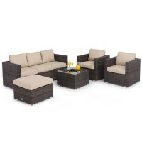 Maze Rattan Furniture Georgia 3 Seat Brown Sofa Set FLA-102520