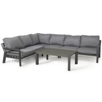 Metal Garden Furniture New York Corner Garden Sofa Set Grey ALU-NY-103010 by Maze Rattan