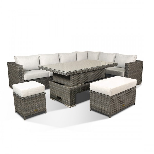 Garden Rattan Furniture Grey Catalina Garden Dining Set CAT-220R-WG by Rattan Republic