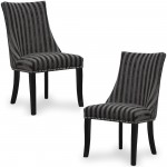Dining Chair - Pair of Shankar Balmoral Charcoal Stripe Accent Chairs 090-42-26-01-03