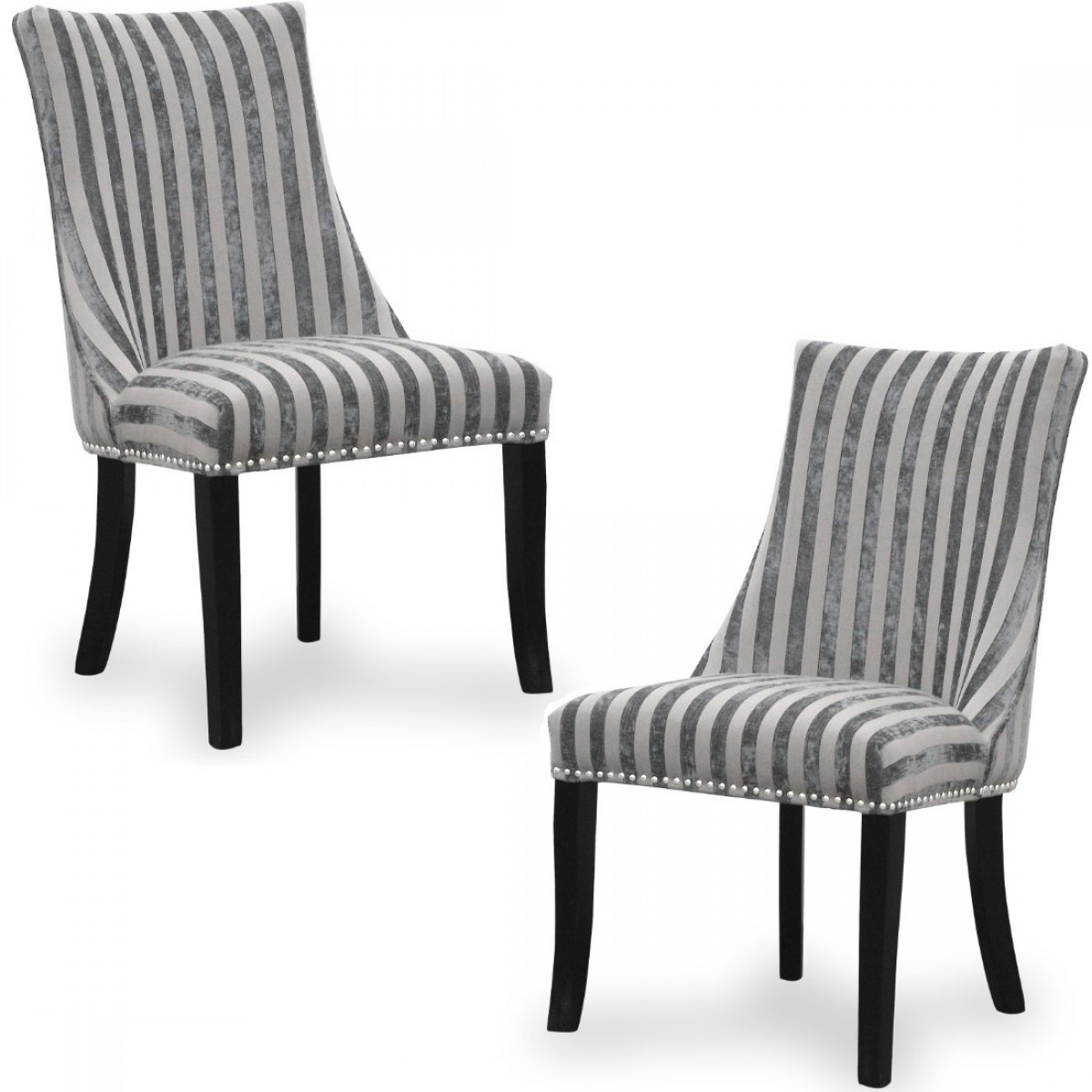 Accent Chairs.Dining Chair Pair Of Shankar Balmoral Mink Stripe Accent Chairs 090 42 02 01 03