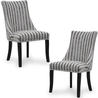 Dining Chair - Pair of Shankar Balmoral Mink Stripe Accent Chairs 090-42-02-01-03