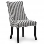 Dining Chair - Pair of Balmoral Velvet Stripe Mink Accent Chairs 090-42-02-01-03