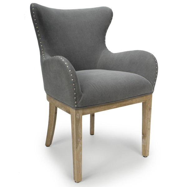 Accent Chairs - Shankar Melrose Grey Wing Back Living Room Chair