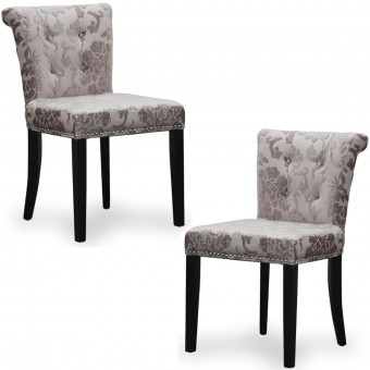 Dining Chairs - Pair of Shankar Sandringham Baroque Mink Accent Chairs 085-34-02-01-01