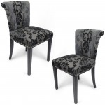 Dining Chairs - Pair of Shankar Sandringham Baroque Charcoal Accent Chairs 085-34-26-01-01