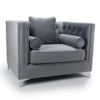 Armchairs - Shankar Dorchester Grey Brushed Velvet Armchair 610-09-03-10-01