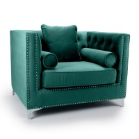 Armchairs - Shankar Dorchester Green Brushed Velvet Armchair 610-09-40-10-01