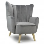 Armchairs - Shankar Penbury Grey Velvet Armchair, Fabric Armchairs