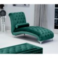 Chaise Lounge - Shankar Dorchester Brushed Velvet Chaise in Green 680-09-40-10-01