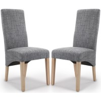 Dining Chair - Pair of Shankar Baxter Grey Tweed Dining Chairs 084-03-41-05-03 BAXT-TWED