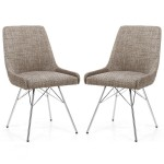 Dining Chair - Shankar Capri Oatmeal Tweed Dining Chair 004-03-11-10-01 - Chrome Legs
