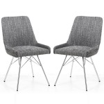 Dining Chair - Shankar Capri Grey Tweed Dining Chair 004-03-41-10-01 - Chrome Legs