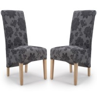 Dining Chair - Pair of Shankar Krista Fleur Antique Grey Dining Chairs KRIS-FLR-AGRY 001-01-07-05-03