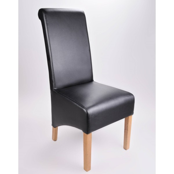 Dining Chairs - Krista Bonded Leather Chairs in Matt Black