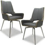 Dining Chair - Pair of Shankar Mako Swivel Faux Leather Dining Chairs in Grey 022-14-01-12-03