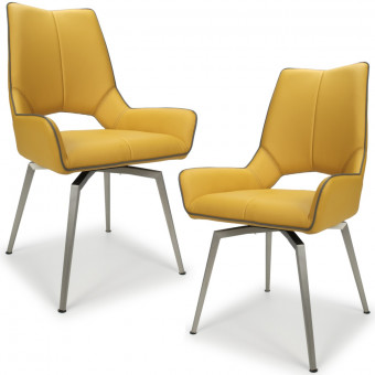 Dining Chair - Pair of Shankar Mako Swivel Faux Leather Dining Chairs in Yellow 022-14-03-12-03