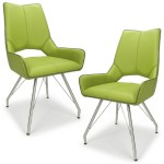 Dining Chair - Pair of Shankar Ricardo Faux Leather Dining Chairs in Green 021-14-02-11-03