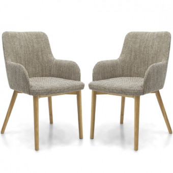 Dining Chair - Pair of Shankar Sidcup Oatmeal Tweed Dining Chairs 086-03-11-05-01