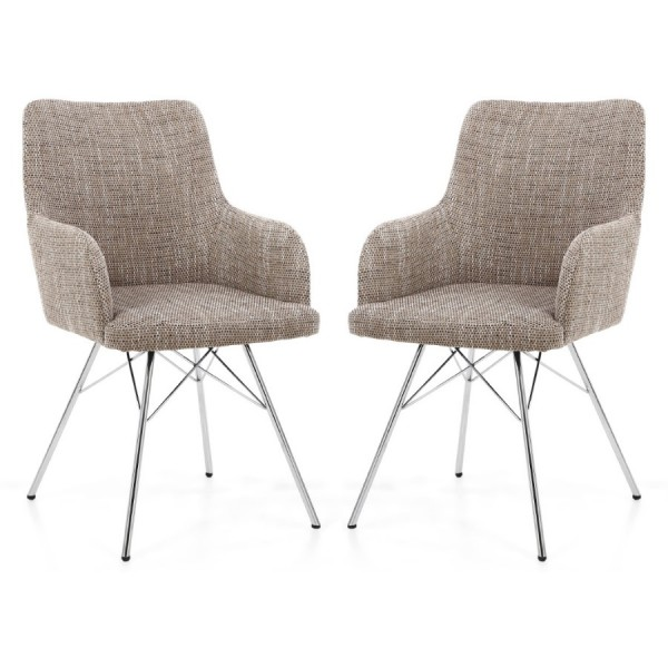 Dining Chair - Shankar Sidcup Oatmeal Tweed Dining Chair 086-03-11-10-01 - Chrome Legs