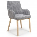 Dining Chair - Pair of Sidcup Grey Tweed Dining Chairs 086-03-41-05-01
