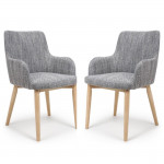 Dining Chair - Pair of Shankar Sidcup Grey Tweed Dining Chairs 086-03-41-05-01