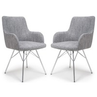 Dining Chair - Shankar Sidcup Grey Tweed Dining Chair 086-03-41-10-01 - Chrome Legs