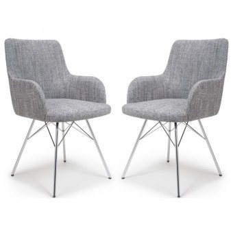 Dining Chair - Pair of Shankar Sidcup Grey Tweed Dining Chair 086-03-41-10-01