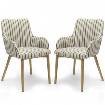 Dining Chair - Pair of Shankar Sidcup Duck Stripe Dining Chairs 086-04-11-05-01