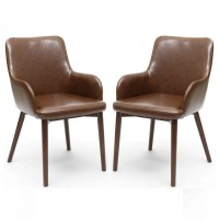 Dining Chair - Pair of Shankar Sidcup Brown Leather Effect Dining Chairs 086-11-01-02-01