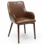 Dining Chair - Pair of Sidcup Brown Leather Effect Dining Chairs 086-11-01-02-01