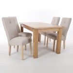 Dining Set - Shankar Solid Oak Extending Dining Table and 4 Linea Cream Dining Chairs