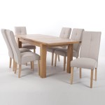Dining Set - Shankar Solid Oak Extending Dining Table and 6 Linea Cream Dining Chairs
